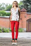 Женские брюки из летнего стрейч-катона, с подвернутым низом и карманами. Рисунок шахматка. Красные, фото 3