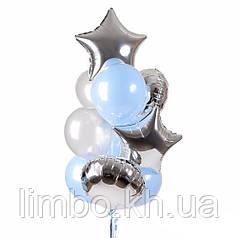 Шарики парню на день рождения в нежно-голубом цвете с фольгированными шарами