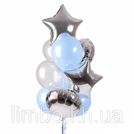 Шарики парню на день рождения в нежно-голубом цвете с фольгированными шарами, фото 2