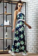Летнее платье в пол длинное без рукавов с крупным цветочным принтом. Синее