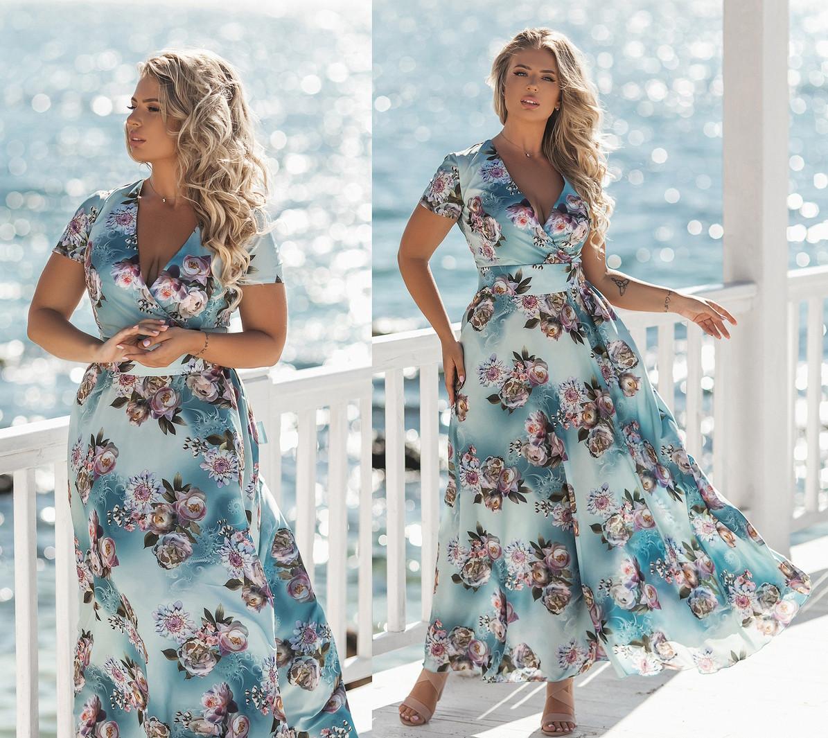 """Очаровательное длинное нарядное платье в больших размерах 2171 """"Софт Цветы Макси Лиф Запах"""" в расцветках"""