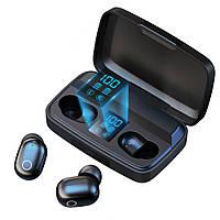 Беспроводные наушники с повербанком Topk T10 c уровнем заряда. Bluetooth 5.0.  PowerBank 2000 мАч. Черные