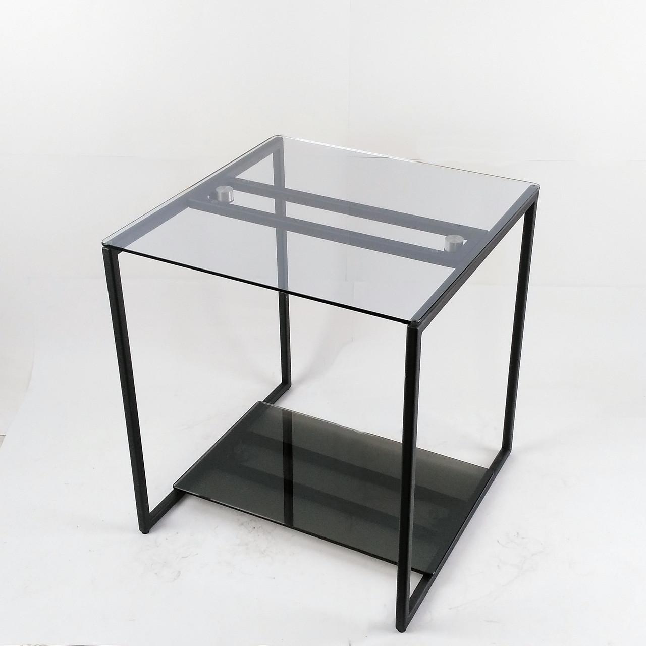 Стол журнальный Куб 450 стекло 6 мм прозрачное/графит - черный металл (Cub 450 cg-bl)