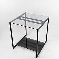Стол журнальный Куб 450 стекло 6 мм прозрачное/графит - черный металл (Cub 450 cg-bl), фото 1