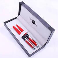 Набор подарочный ручка перьевая + шариковая Красно-черный корпус Gianni Terra Red With Black