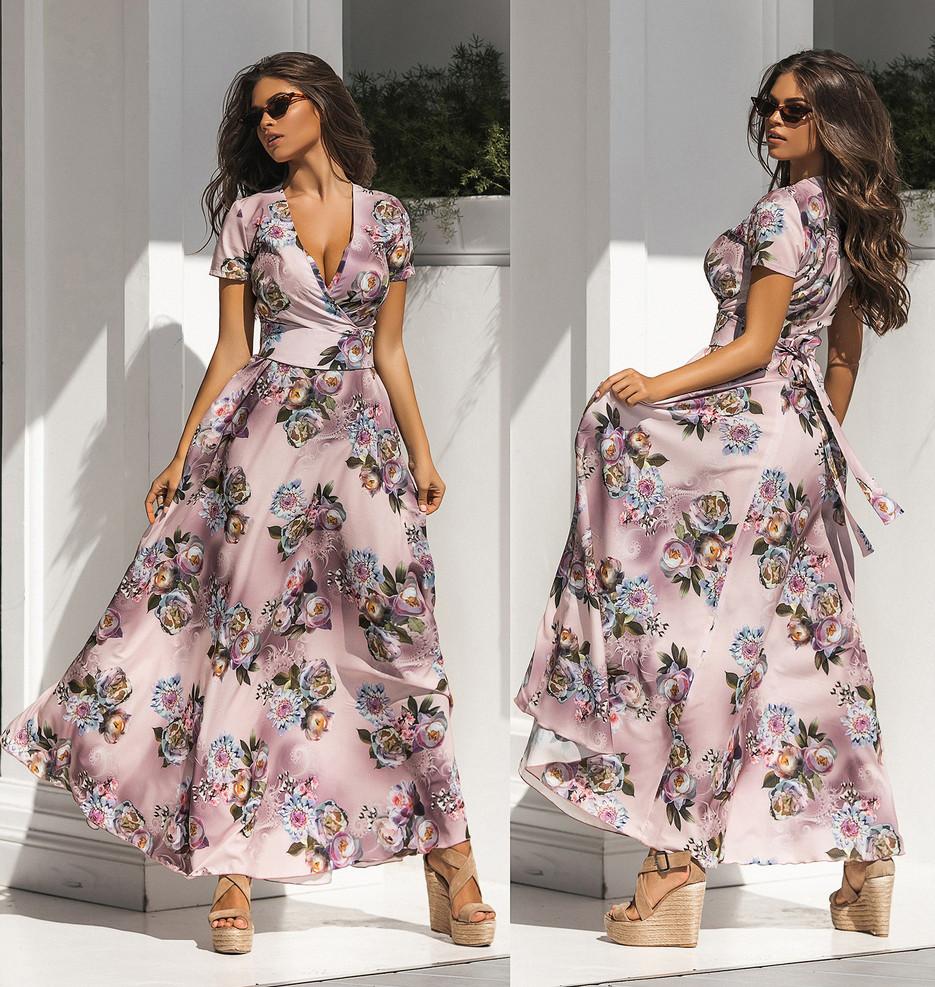 """Чарівне довге ошатне плаття 2170 """"Софт Квіти Максі Ліф Запах"""" в кольорах"""