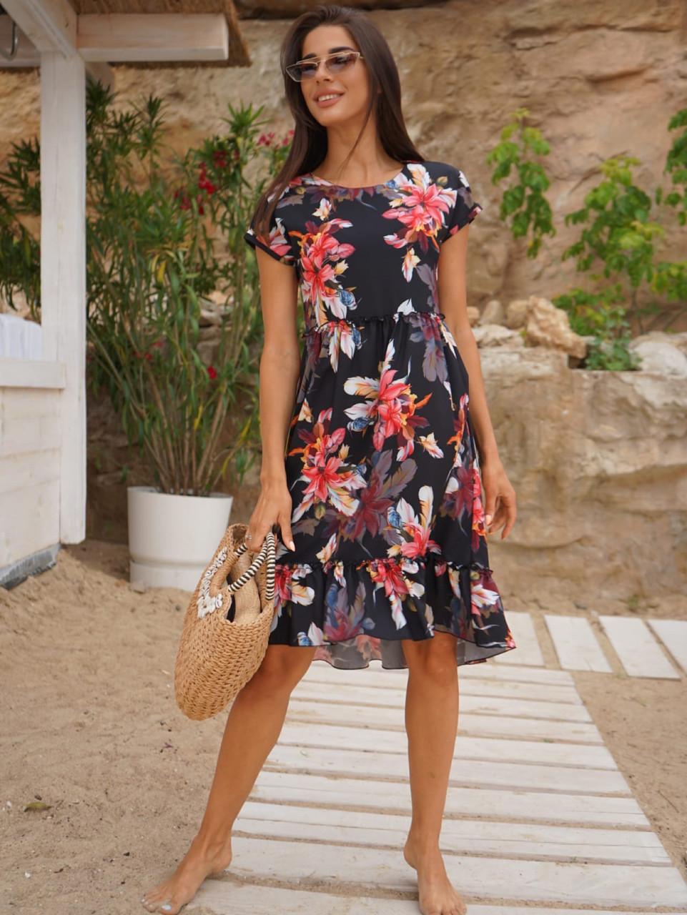 Женское летнее платье с завышенной талией