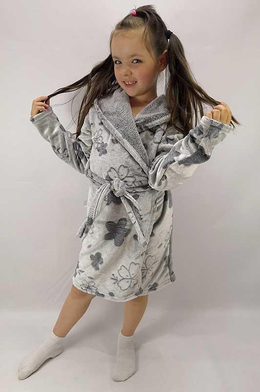 Детский теплый халат Цветочек р.104-146