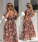 """Жіноче плаття у великих розмірах 2177 """"Штапель Квіти Максі Запах Рюші"""" в кольорах, фото 5"""