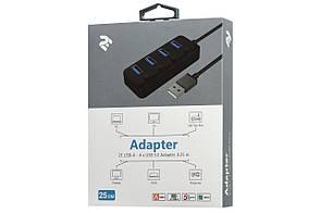 USB Хаб 2Е 4в1 4xUSB3.0 З кабелем 0.25 м Чорний (2E-W1405), фото 2