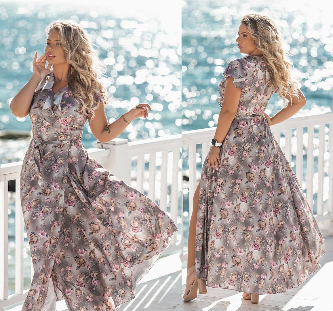 """Жіноче плаття у великих розмірах 2177 """"Штапель Квіти Максі Запах Рюші"""" в кольорах"""