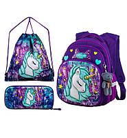 Рюкзак школьный ортопедический для девочки 1-4 класса набор Пони Единорог 29*19*38см Winner One R3-222, фото 1