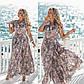 """Жіноче плаття у великих розмірах 2177 """"Штапель Квіти Максі Запах Рюші"""" в кольорах, фото 6"""