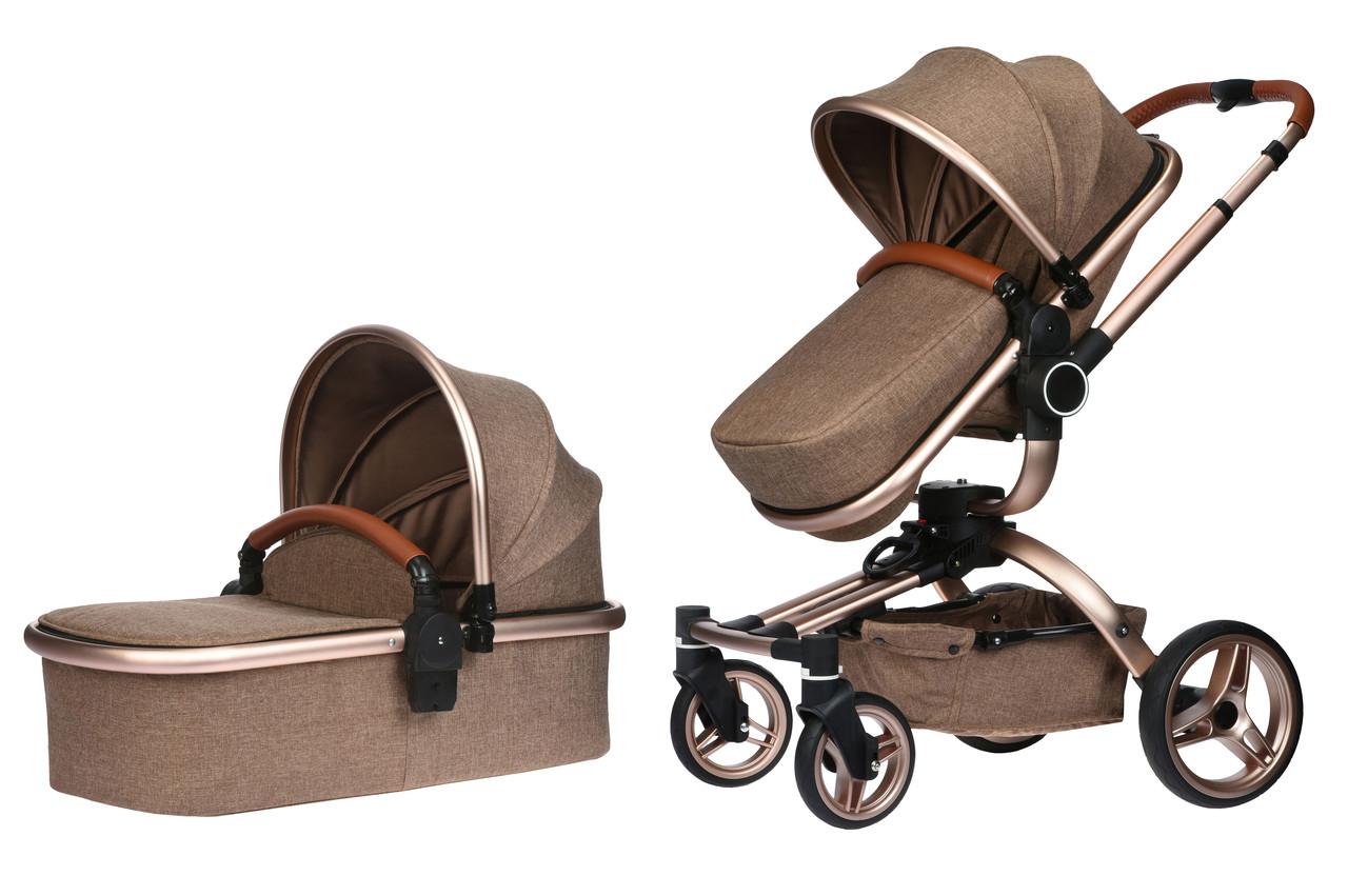 Коляска детская 2в1 V-Baby Miqilong X159 Бежевый (X159-02)