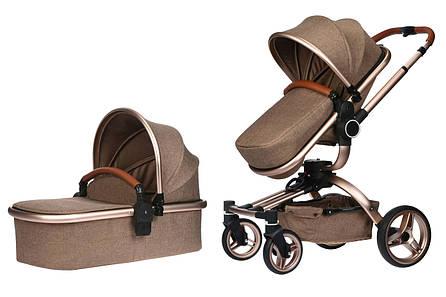 Коляска детская 2в1 V-Baby Miqilong X159 Бежевый (X159-02), фото 2