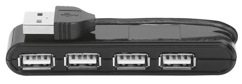 USB Хаб TRUST Vecco 4в1 4xUSB 2.0 Черный (14591)