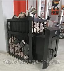 """Печь-камин для бани """"Пруток"""" 12 м3 Новаслав с выносом, стеклом, фото 3"""