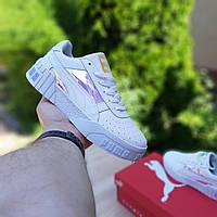 Женские кроссовки Puma Cali Пума белые с перламутром