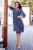 Нежное летнее шифоновое женское платье большого размера, размеры 50, 52, 54, 56
