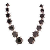 Серебряные серьги каффы клаймберы с кубическим цирконием черным (ч54102)