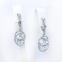 Серебряные серьги с подвесками с  камнями белого цвета (481с22)