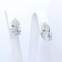 Серебряные серьги с камнями белого цвета (453с22)