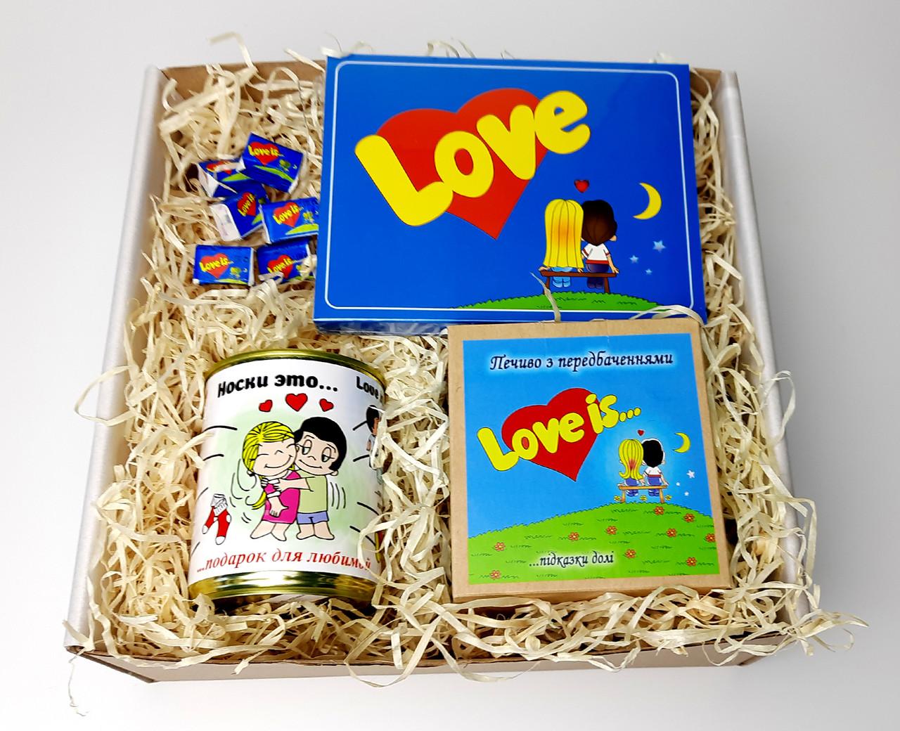 """Набор женский  """"Love is"""" - печенье с предсказаниями, набор шоколада, консервированные носочки, жвачки"""