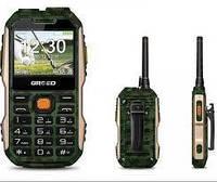 Кнопочный телефон противоударный с камерой и фонариком на 2 sim Grsed E8800 green РАЦИЯ