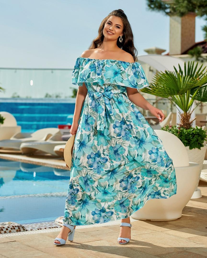 Оригинальное летнее платье принт цветы, Платье летнее женское с цветочным принтом,  Красивое летнее платье больших размеров.