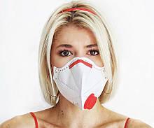 Респиратор FFP3 Микрон с красным клапаном выдоха ФФП3, многоразовая маска для лица от вирусов - ОРИГИНАЛ