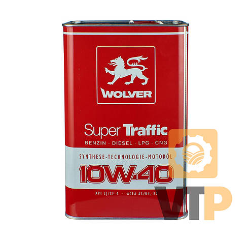 Олива моторна WOLVER SUPER TRAFFIC SAE 10W-40   каністра 4л жерсть, фото 2