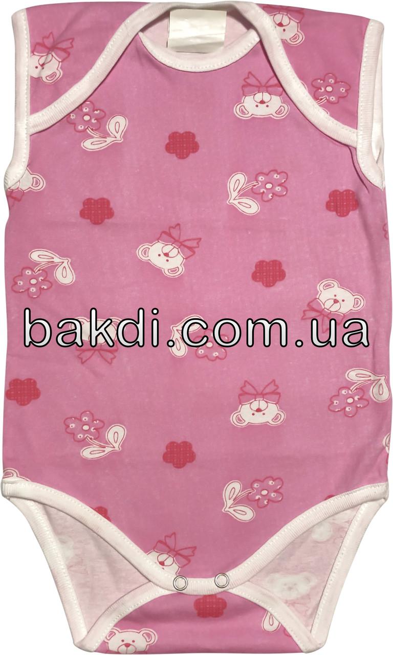 Детское летнее тонкое боди рост 68 3-6 мес хлопковое кулир розовое на девочку бодик без рукавов для новорожденных малышей Р850