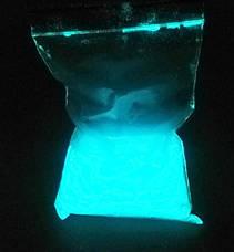 БЛАКИТНИЙ в темряві і БІЛИЙ на світлі Люмінофор, що СВІТИТЬСЯ порошок люминесцент ТМ Просто і Легко, 20 г, фото 3