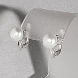 Жемчуг белый, серебро 925, серьги, 352СРЖ, фото 2