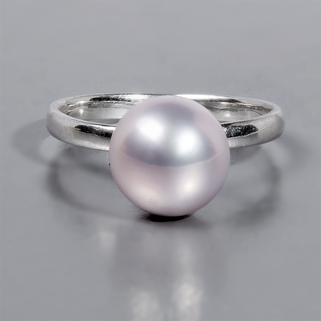Кольцо из серебра с розовым жемчугом, Ø9 мм., 1070КЦЖ