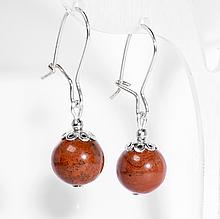 Серебряные серьги с красной яшмой, Ø10 мм., 428СРЯ