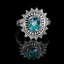 Серебряное кольцо с апатитом, 1347КА