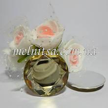 Клейовий декор круглий з гранями, 2,5 см, колір шампань, 1 шт.