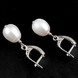 Жемчуг белый, серебро 925, серьги, 082СРЖ, фото 2