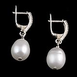 Жемчуг белый, серебро 925, серьги, 082СРЖ, фото 3