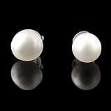 Жемчуг белый, Ø5-6 мм., пуссеты (серьги-гвоздики), 304СРЖ, фото 3
