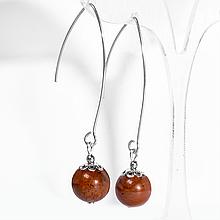 Серебряные серьги с красной яшмой, Ø10 мм., 427СРЯ