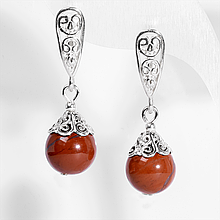 Серебряные серьги с красной яшмой, Ø10 мм., 430СРЯ