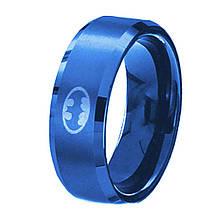"""Кольцо из нержавеющей стали """"Бэтмен"""", синие анодирование, 1116КЖ"""