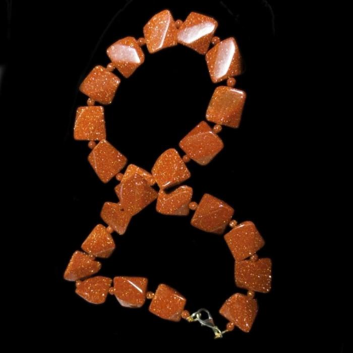 Авантюрин золотий пісок, квадратики гранчасті бусини, 057БСА