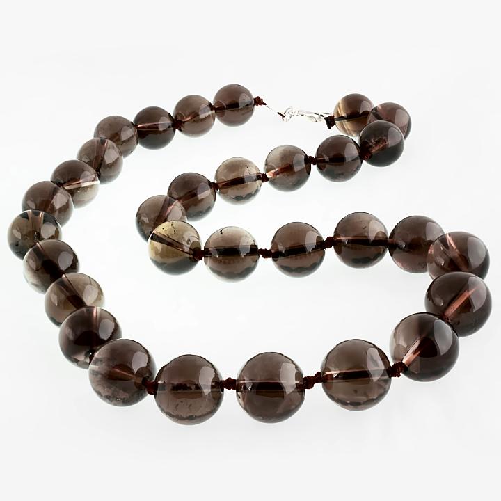Раухтопаз шоколадный Ø12, бусы, 231БСР