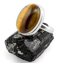 Тигровый глаз, 20*15 мм., серебро 925, кольцо, 148КГ