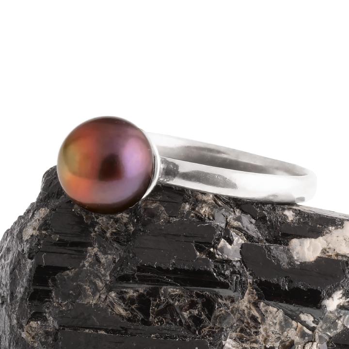 Жемчуг черный Ø8, серебро 925, кольцо, 400КЖ