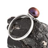 Жемчуг черный Ø8, серебро 925, кольцо, 400КЖ, фото 3