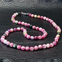 Турмалин розовый рубеллит, бусы, 279БСТ